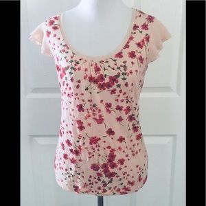 ELLE Peach and Poppy Floral Ruffled Sleeve Top XS